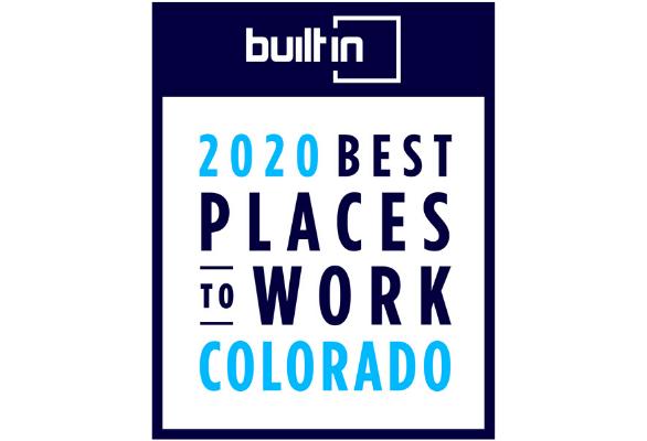 2020 Best Places to Work in Colorado recognition from Built In Colorado